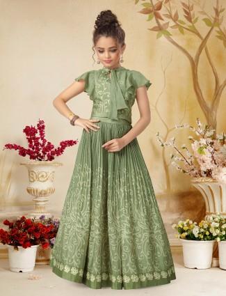 Party wear green hue silk lehenga choli