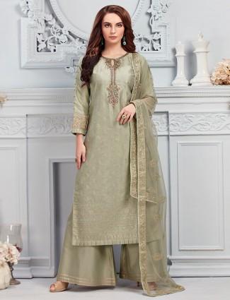 Party wear green pakistani style palazzo suit