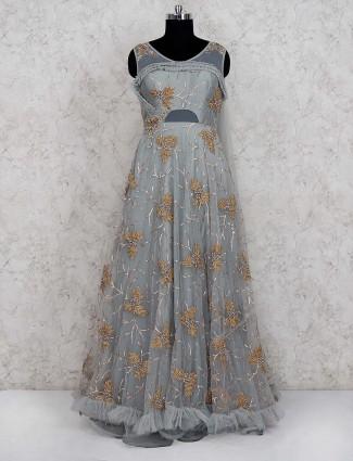Party wear grey hue net gown