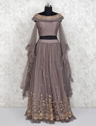 Party wear brown net lehenga choli