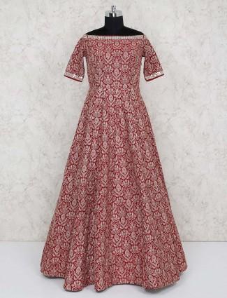 Party wear maroon gown in raw silk