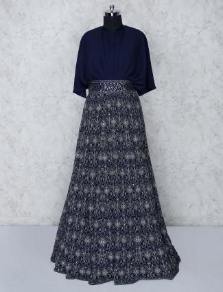 Party wear navy blue georgette gown