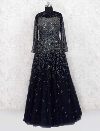 Party wear net fabric navy blue designer gown