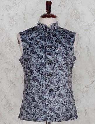 Party wear printed grey hue terry rayon waistcoat