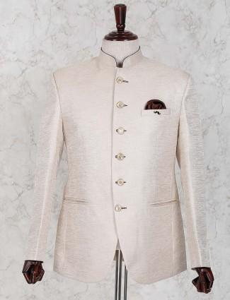 Party wear raw silk cream hued jodhpuri blazer