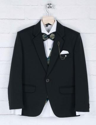 Party wear solid bottle green coat suit
