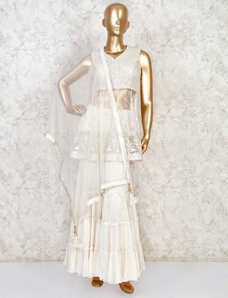 Party wear white net punjabi sharara suit