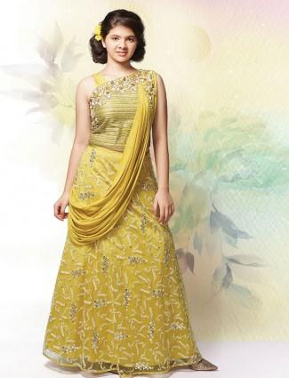 Party wear yellow silk lehenga choli