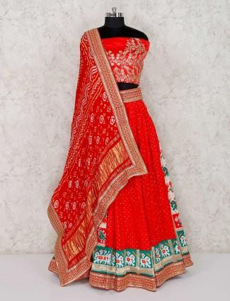 Patola silk cream red semi stitched lehenga choli