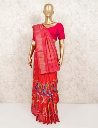 Patola silk designer red saree