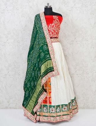Patola silk red bridal semi stitched designer lehenga choli