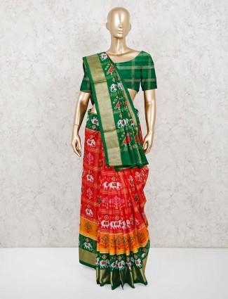 Patola silk red wedding saree