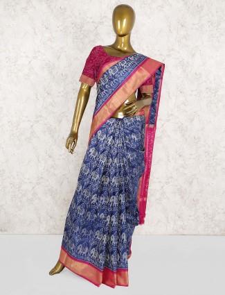 Patola silk saree in blue color
