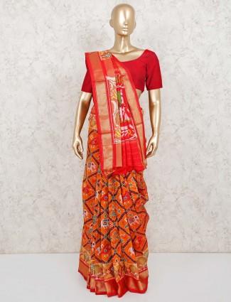 Patola silk saree in orange receprion wear