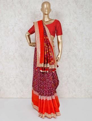 Patola silk wedding saree in maroon