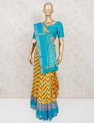 Patola silk yellow saree for festive wear