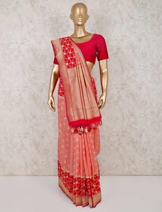 Peach banarasi silk reception saree