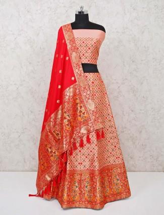 Peach banarasi silk semi stitched lehenga choli for wedding