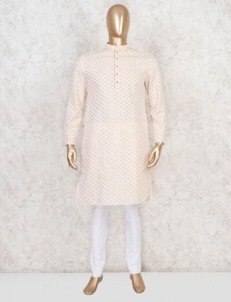 Peach bandhgala kurta suit in cotton