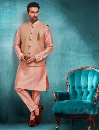Peach brocade raw silk mens waistcoat set