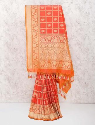 Peach color banarasi semi silk wonderful saree