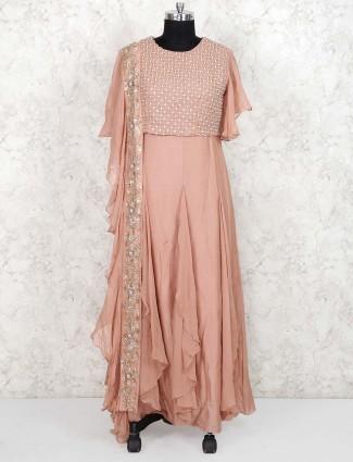 Peach color cotton silk designer floor length anarkali salwar suit