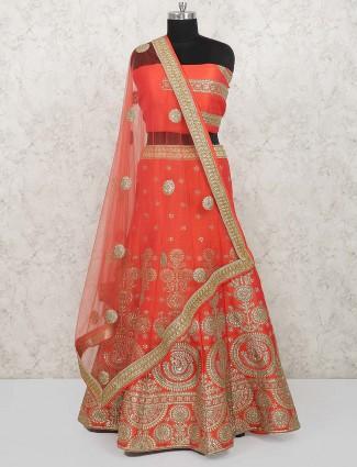 Peach color lovely semi stitched bridal lehenga choli