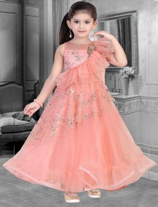 Peach color net fabric floor length gown