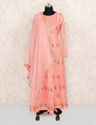 Peach color pretty cotton fabric floor length salwar suit