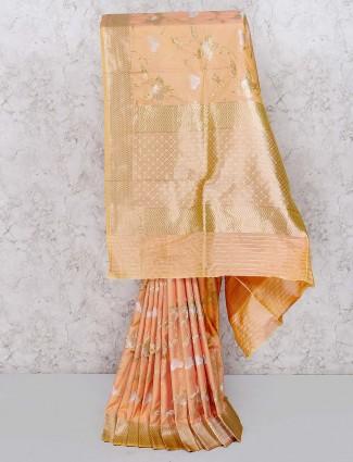 Peach color pretty saree in semi silk fabric