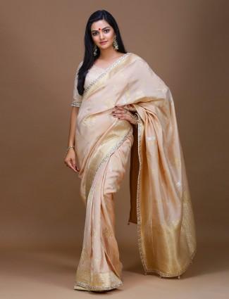Peach color pure silk wedding saree