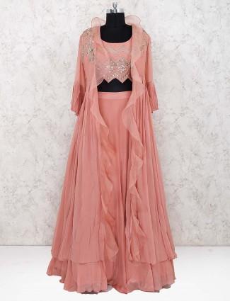 Peach color tissue silk jacket style lehenga choli