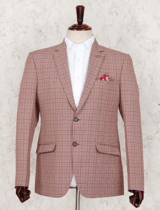 Peach color tweed pattern terry rayon blazer