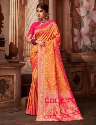 Peach color wedding saree in silk fabric