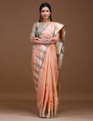 Peach color wedding wear pure silk saree