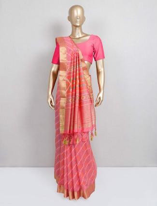 Peach colored cotton silk saree for festival