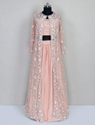 Peach colour georgette wedding wear lehenga