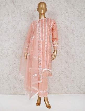 Peach cotton festive punjabi palazzo suit