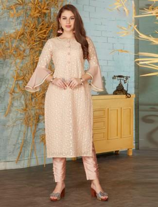 Peach cotton festive punjabi pant suit