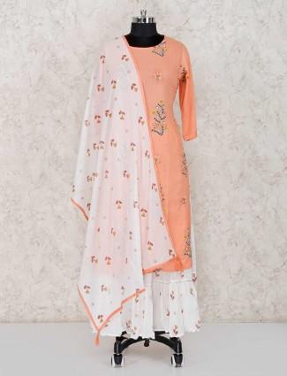 Peach cotton festive wear kurti set