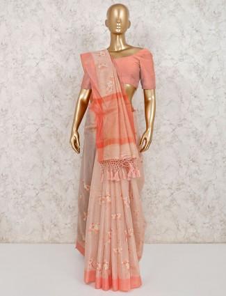Peach cotton festive wear saree
