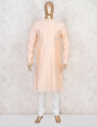 Peach cotton motif thread kurta suit