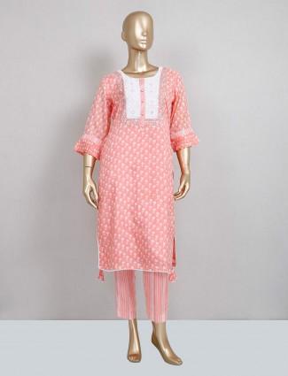 Peach cotton pant style salwar kameez