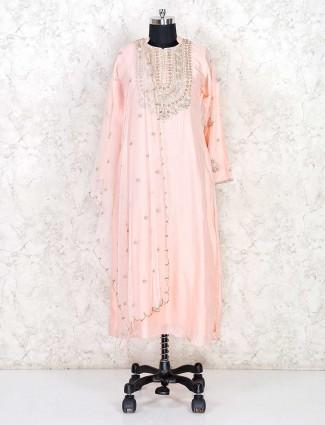 Peach cotton punjabi salwar suit
