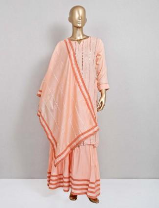 Peach cotton sharara salwar suit