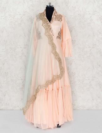 Peach cotton silk designer floor length anarkali salwar suit