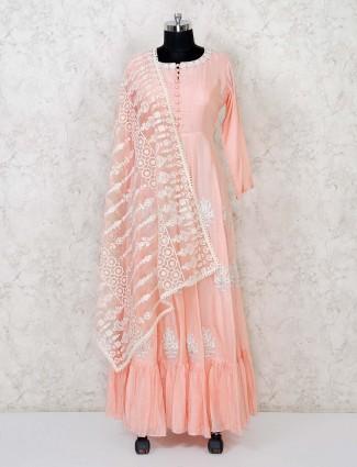 Peach cotton silk festive wear anarkali suit
