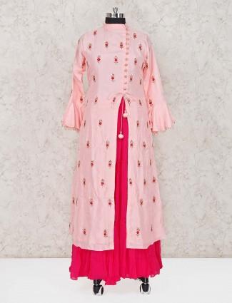 Peach cotton silk lehenga suit