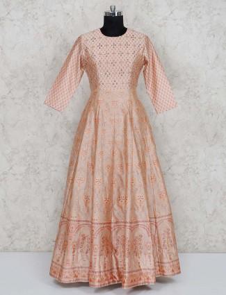 Peach cotton silk printed gown