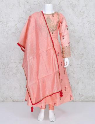 Peach cotton silk printed punjabi salwar suit